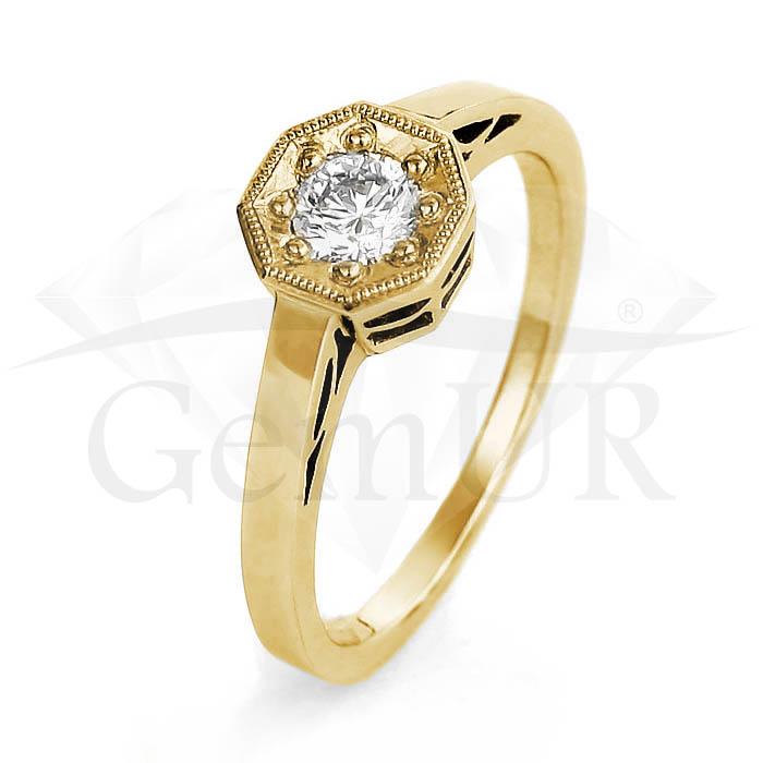Pierścionek z żółtego złota GZ1
